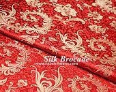 "Feather brocade. Red floral silk. Red silk brocade fabric. Chinese Silk fabric. Asian fabric. Oriental fabric. Cheongsam fabric. Width 29"""