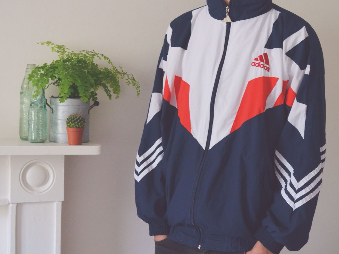 80s Retro Vintage Adidas Sports Track Jacket, available on