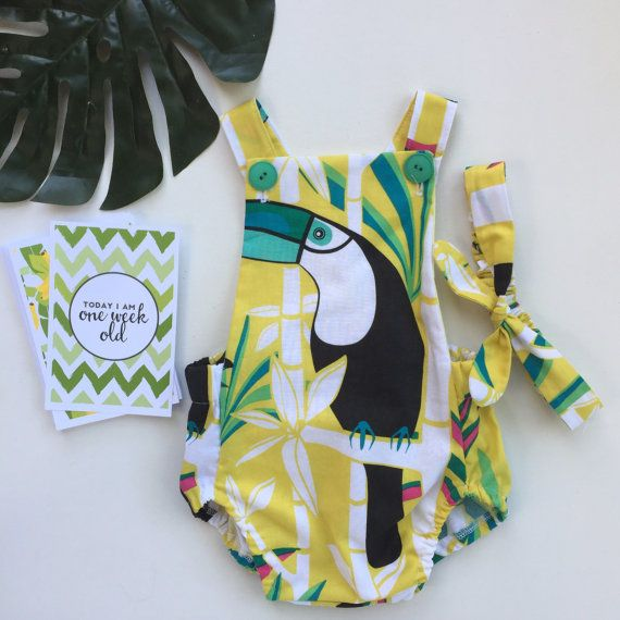 Tropical Toucan Romper by HatchlingsHounds on Etsy