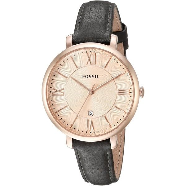 Fossil Women's ES3707 Jacqueline Three Hand Leather Watch - Grey and... ($115) ❤ liked on Polyvore featuring jewelry, watches, water resistant watches, leather strap watches, rose gold tone watches, gray jewelry and fossil jewelry