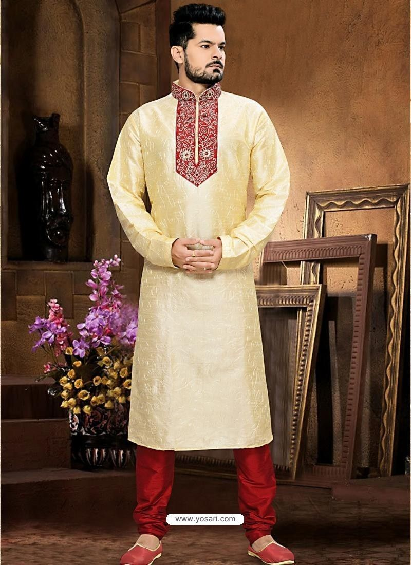 Enhancing Art Silk Cream Kurta Model: MKU489