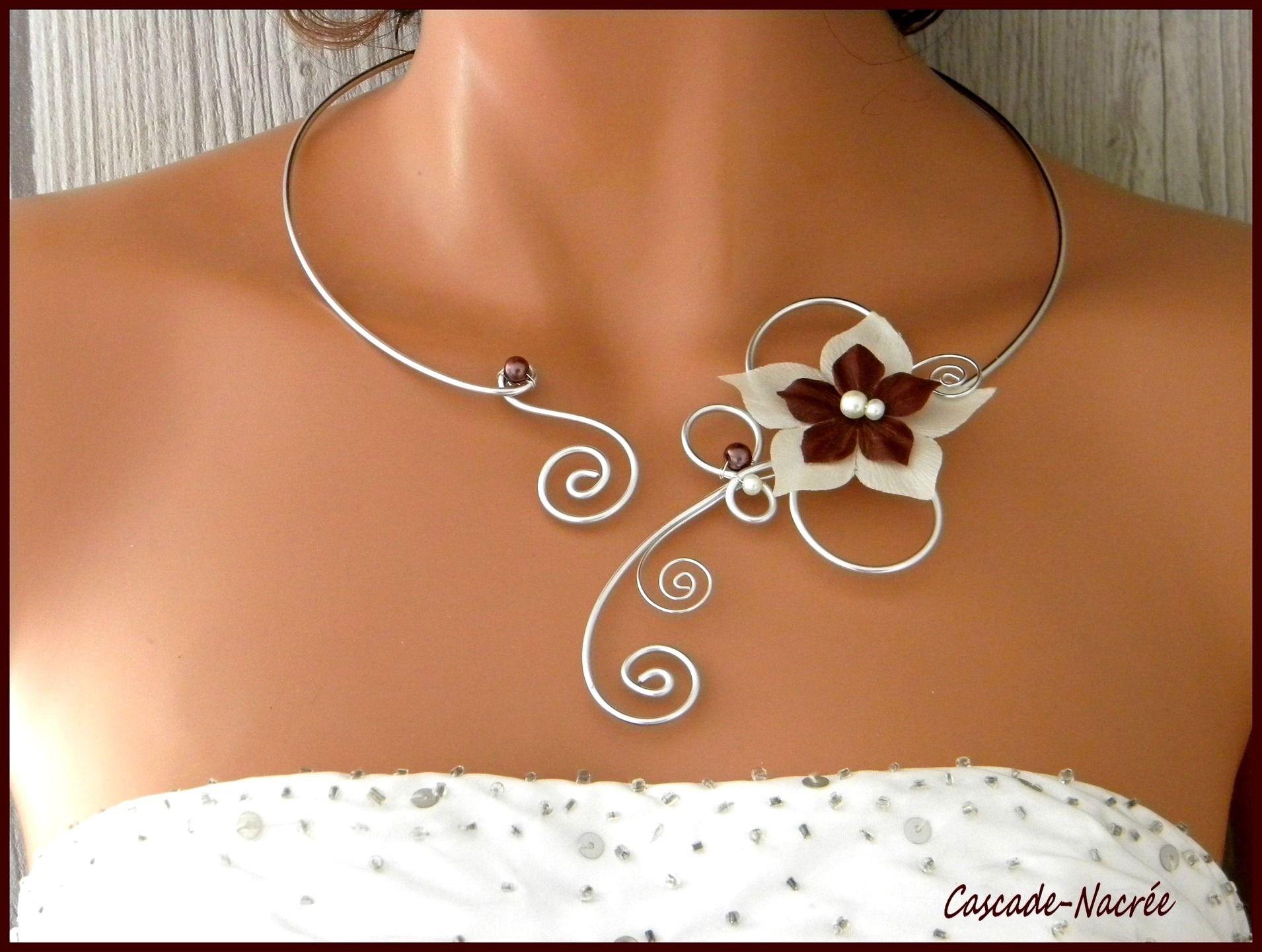 Collier Perle Mariage en Cuivre Bijou Décoration pour Femme Fille