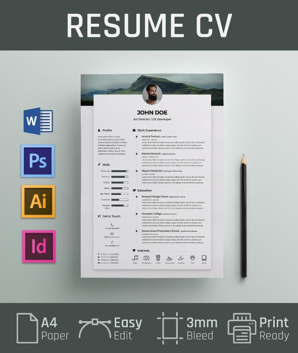Free Resume CV Design Template U0026 Cover Letter In DOC, PSD, AI U0026 INDD (1).  If You Like UX, Design, Or Design Thinking, Check Out Theuxblog.com Podcast  ...