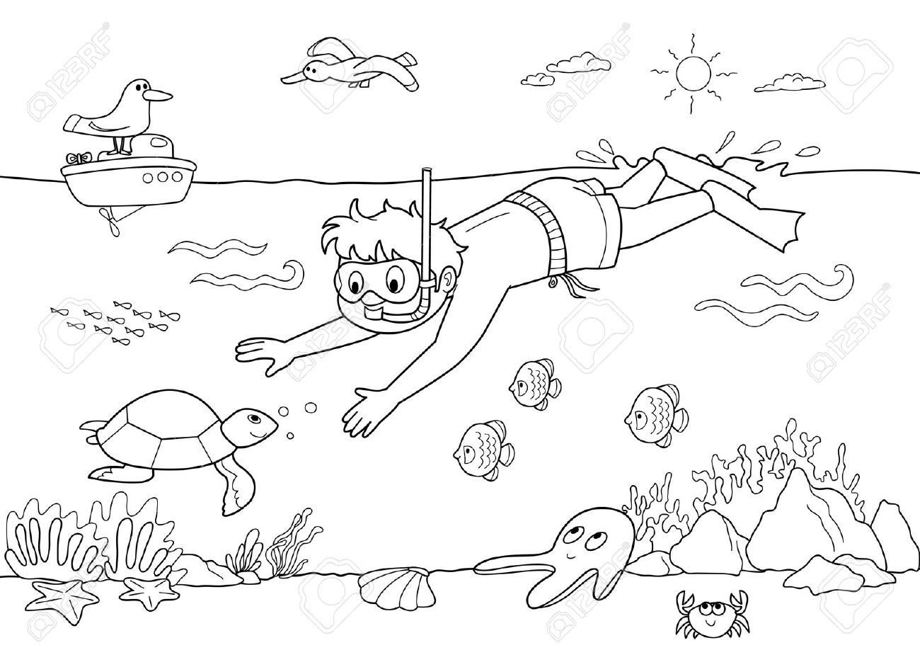 Underwater Black And White Clipart Summer coloring pages