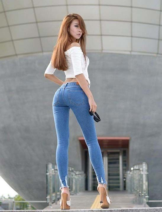 in jeans skinny asian Hot girls