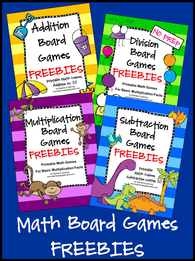 FREEBIES Math Board Games fun, no prep, games