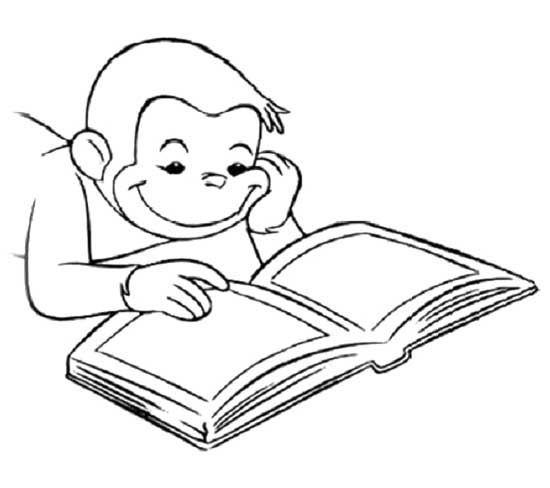 curious george reading book coloring page curious george - Book Coloring Page