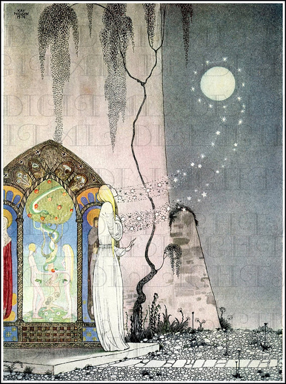 Out Flew The Moon. Deco Kay NIELSEN  Vintage Illustration.   Digital Download. Digital PRINT. From F