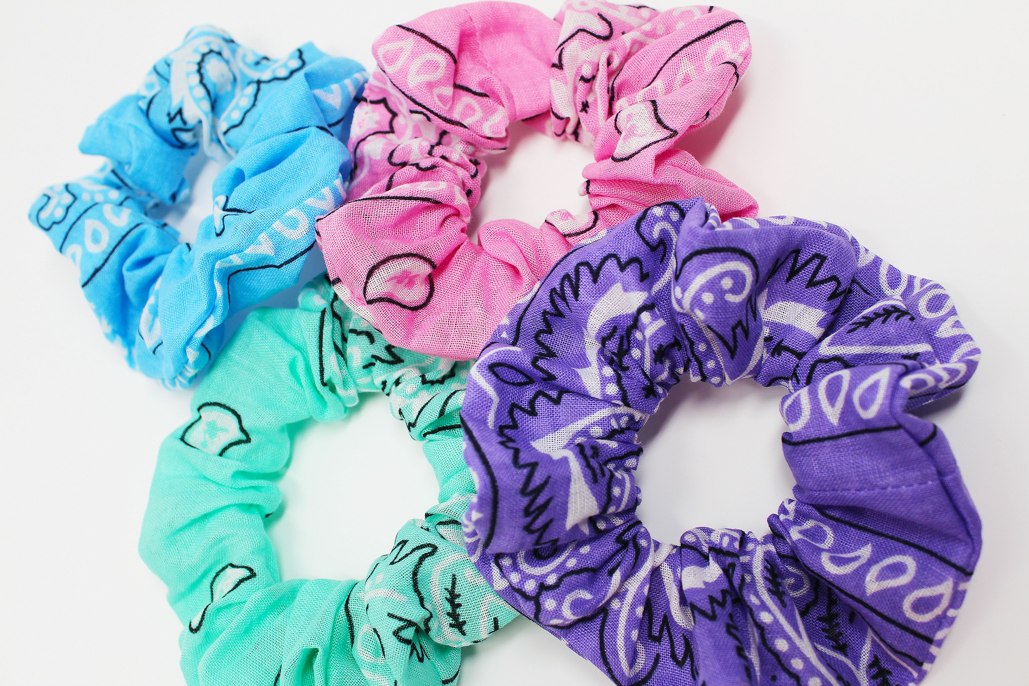Bandana Print Hair Scrunchies, Hair Scrunchy, Bandana Hair Ties, Gentle Hair Elastic, Hair Accessories, Favors, Scrunchie Gift Set, Handmade #hairscrunchie
