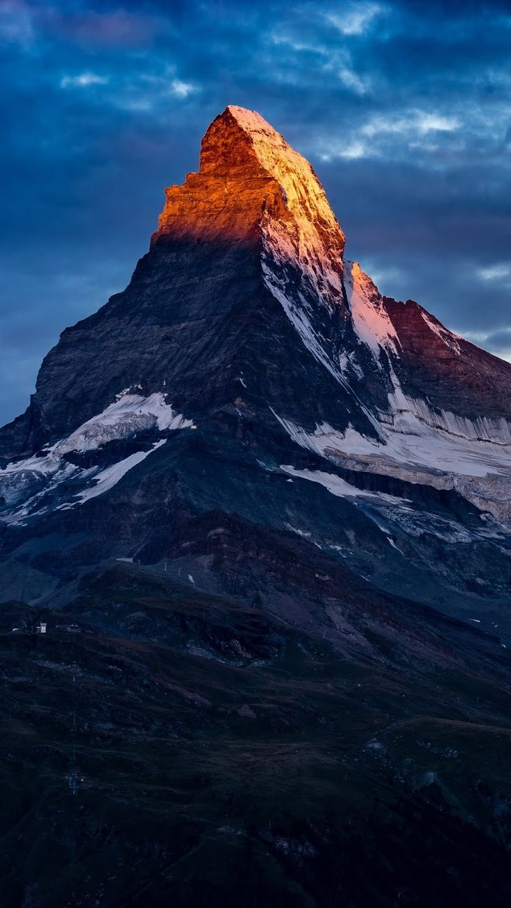 Zermatt's mountain peak in the sunrise light (or sunset