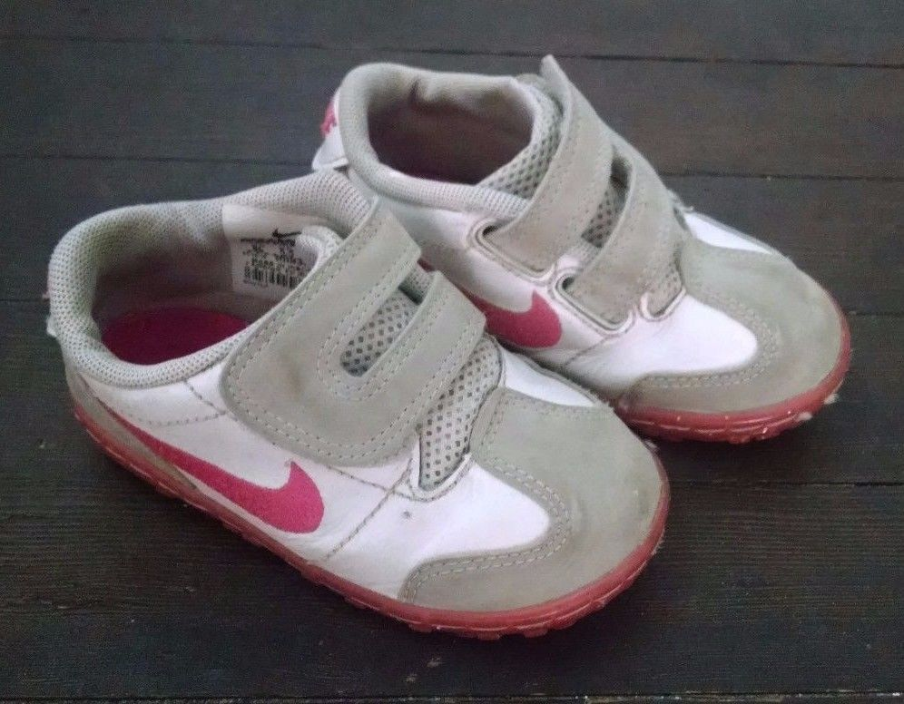 Nike Toddler Girl Shoes Pink White Leather 6C Velcro Sneakers #Nike  #CasualShoes