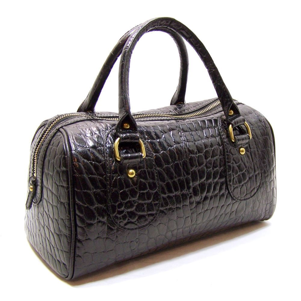 Banana Republic Black Embossed Croc Leather Doctor Style Satchel ...