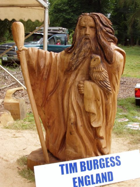 Chainsaw carved wizards chainsaw carved from a log of oak at