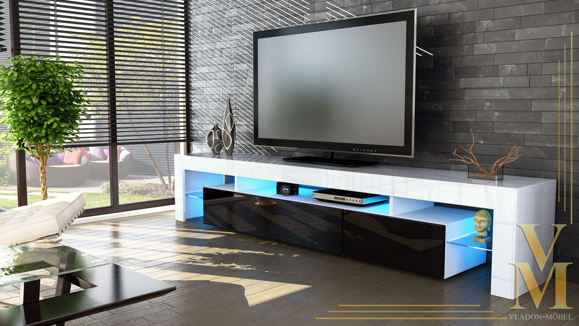 TV Unit Cabinet Stand Lima V LED Doors Cm White High Gloss - Tv wall units ebay