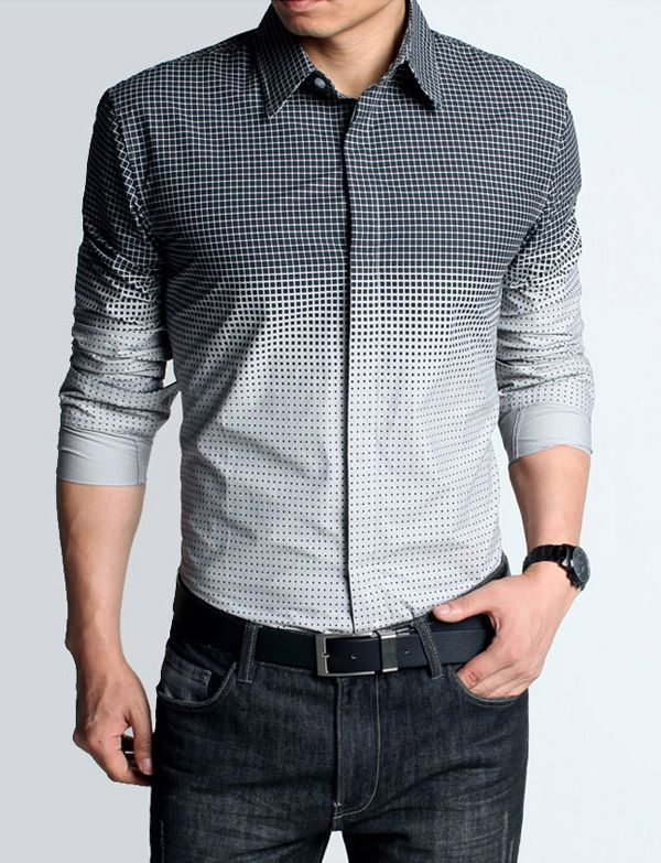 Long Sleeve Color-Gradient Checked Shirt in Slim Fit Design-men's ...