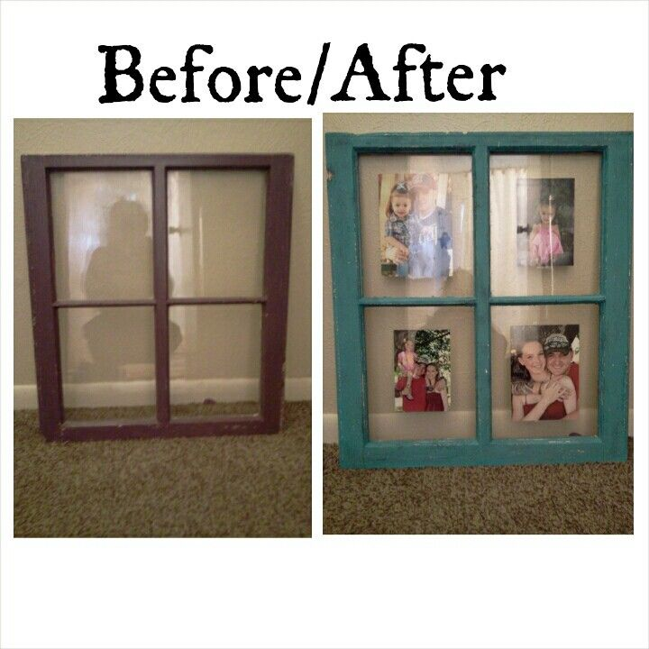 Diy Old Window Pane Painted Distressed And Turned Picture Frame