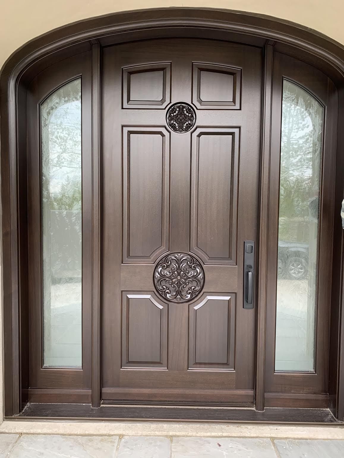 Stunning Custommade Solidmahogany Amberwooddoors Front Door With Sidelights 50 Gunstock Stai Single Door Design Main Entrance Door Design Door Gate Design