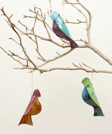 Look what I found on #zulily! Recycled Bird Ornament Set #zulilyfinds