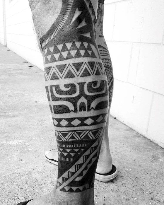 Cool Polynesian Male Tribal Leg Sleeve Tattoo Inspiration