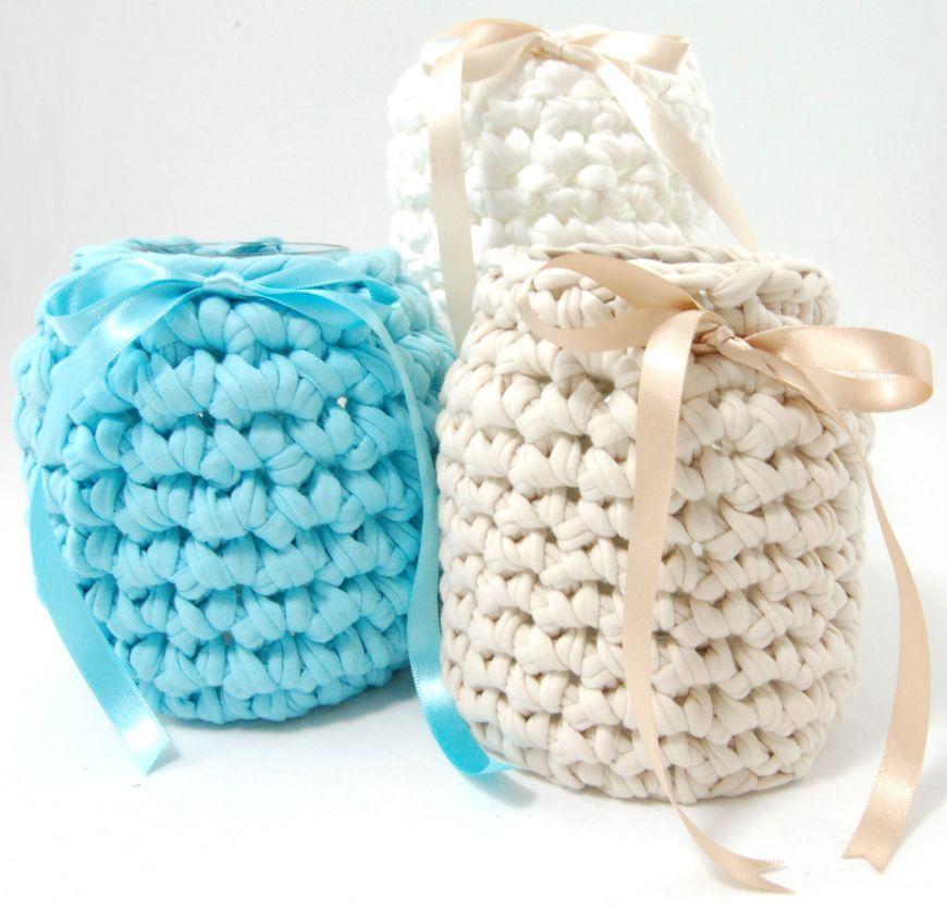 Crochet jar   crochet/knitting   Pinterest   Trapillo, Cesto y Cestas