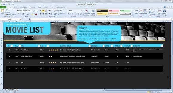 Movie List Spreadsheet Template For Excel 2013 Spreadsheet