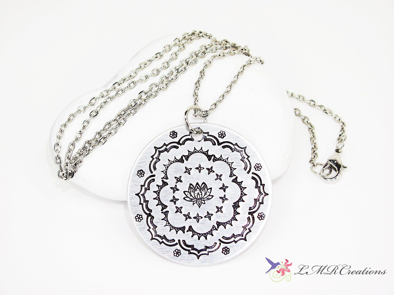 Lotus flower mandala necklace stamped metal yoga pendant