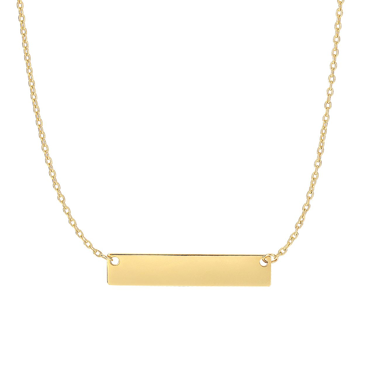 14k Gold Fancy Engravable Bar Necklace Engraved Bar Necklace Bar Pendant Necklace Horizontal Bar Necklace