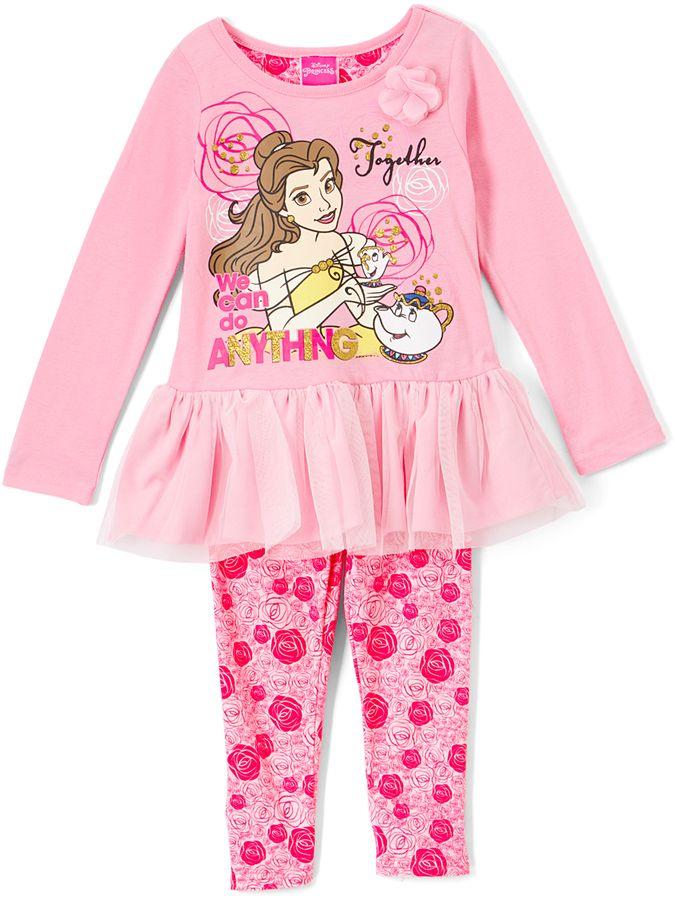 26f8ba863085b Children's Apparel Network Disney Princess Belle Peplum Top & Floral  Leggings - Toddler