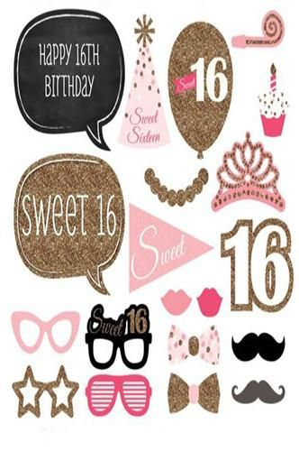 Pra126 Sweet 16 Birthday Photo Booth Props For Weddings Birthdays