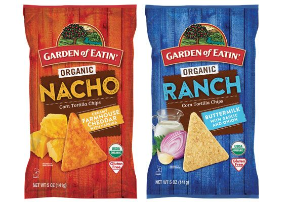 Hain Celestial Garden of Eatin'. The nacho variety features farmhouse cheddar with paprika, while the ranch flavor contains hints of buttermilk, garlic and onion. The new flavors, made with non-G.M.O. ingredients, are certified-USDA organic, gluten-free and certified kosher.