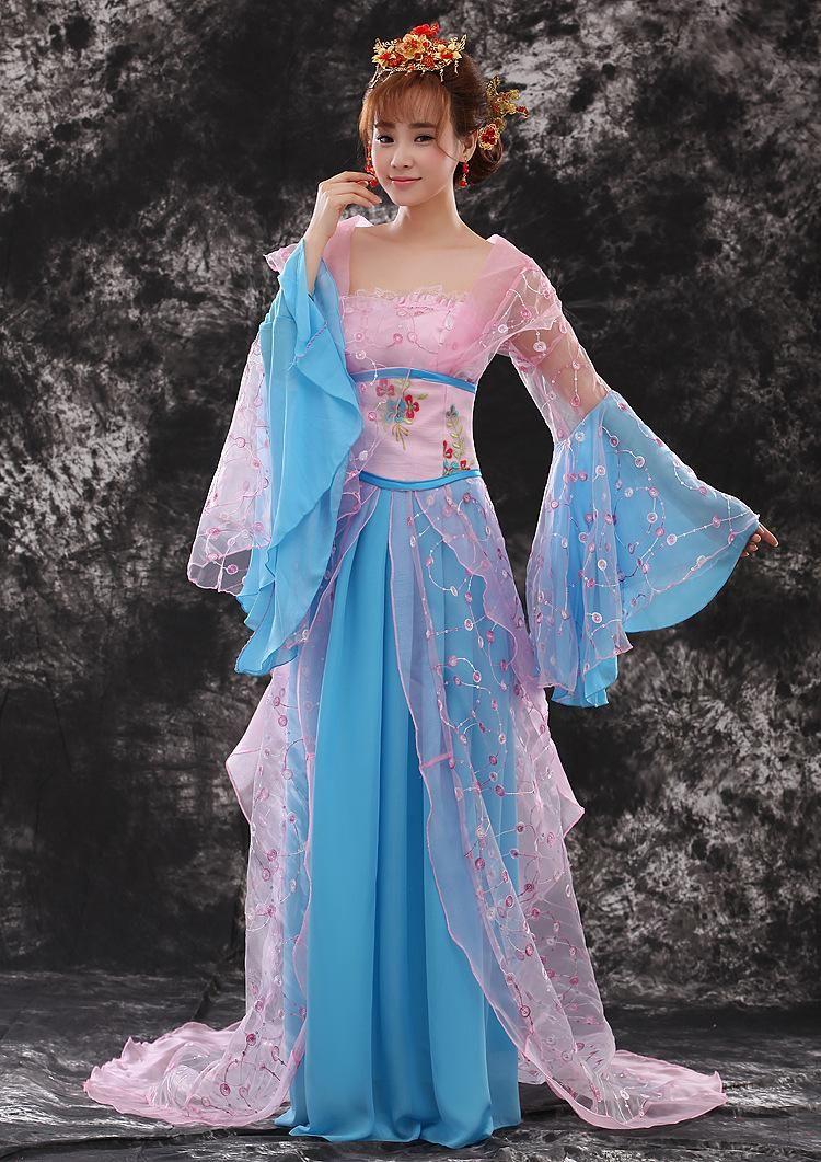 Satin Female Fairy Cosplay Costume Women Hanfu Chinese Tang Dynasty ...