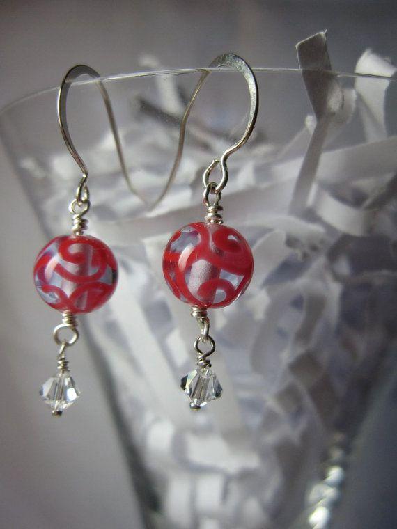 Pink Swirl Czech Lampwork Earrings by ktm1353 on Etsy