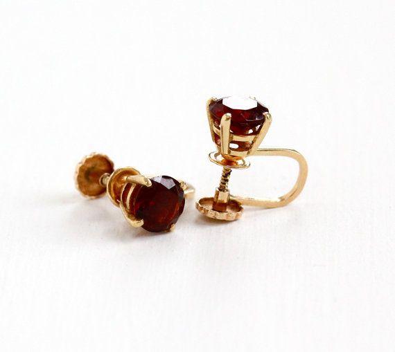 Fine Jewelry Genuine Red Garnet 10K Gold 6mm Stud Earrings 3A2qI