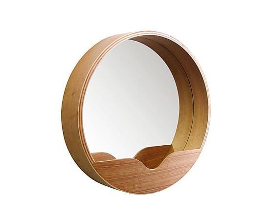 Espejo de pared enmarcado en madera, natural - Ø40 cm