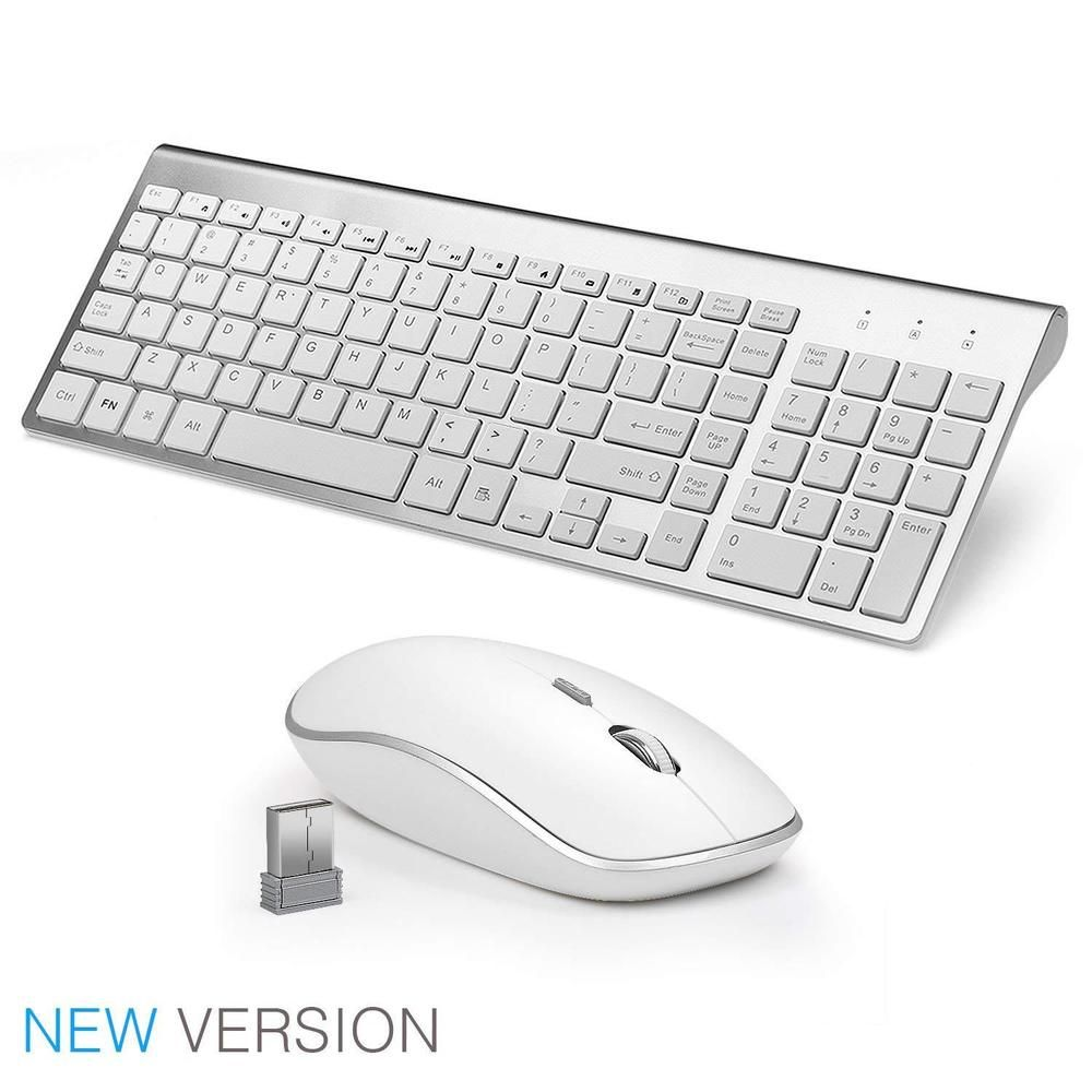 Wireless Slim Keyboard and Mouse Combo 2.4G for Mac Apple PC Laptop Full Size