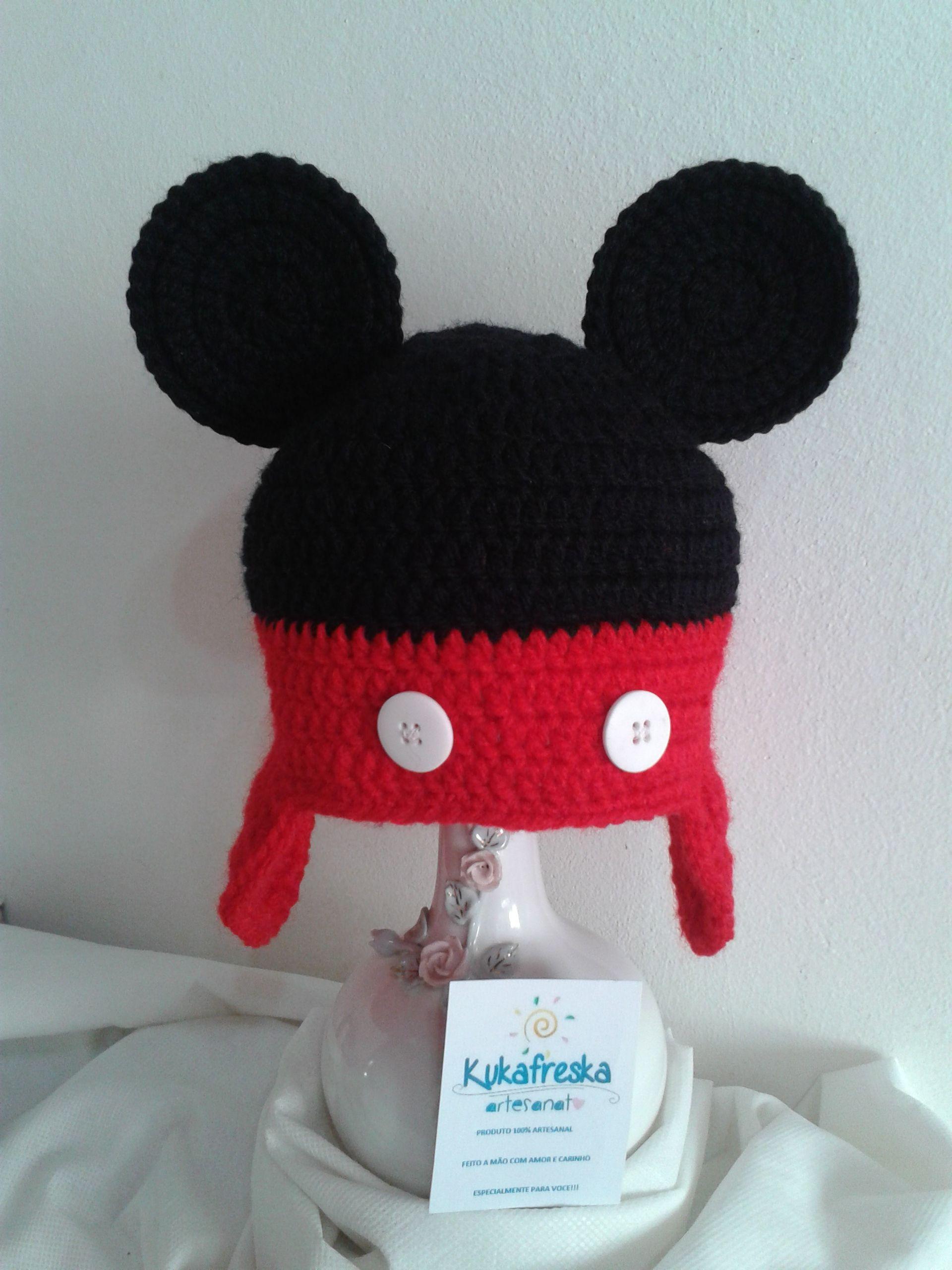12c8a1cfb7143 touca de croche para bebes Mickey