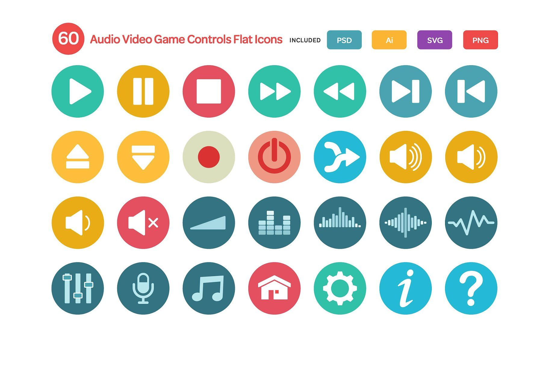 Audio Video And Game Controls Flat Game Video Audio Icons Audio Video Audio Video