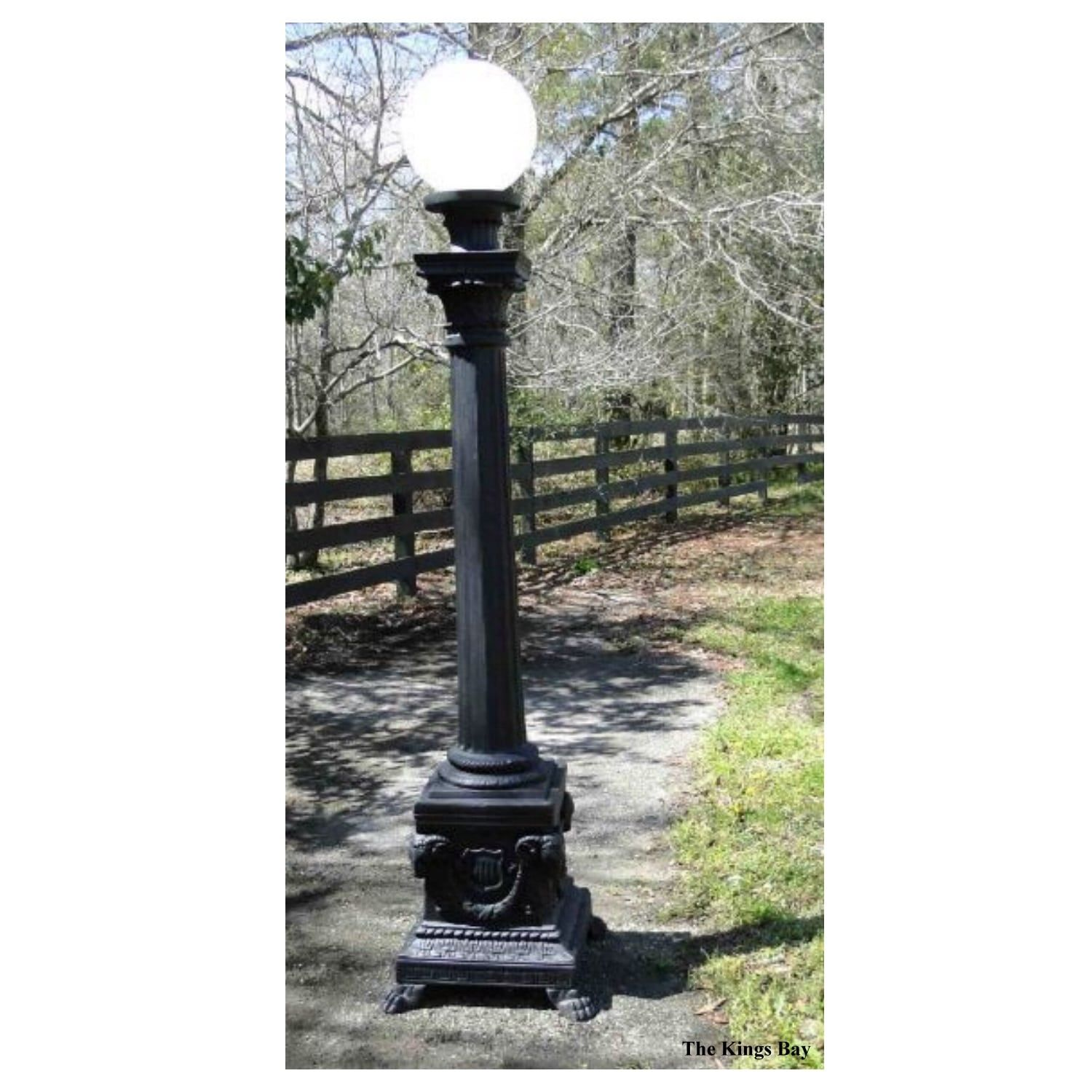 Pair Rams Head Pole Light Commercial Outdoor Presidential Vintage Style 87 Tall Aluminum Paint Victorian Gardens Outdoor Gardens