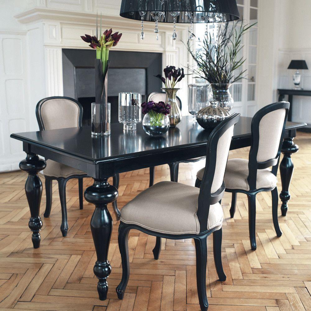 Table A Manger Noire L200 Maisons Du Monde Eetkamertafel Stoelen Voor De Eettafel Houten Tafel