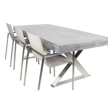 Peninsula Concrete And Stainless Steel Cm Outdoor Dining Table - Outdoor dining table only