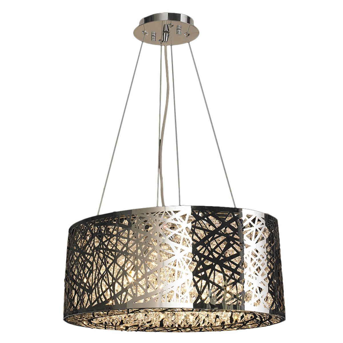 High gloss 8 led light polished chrome finish and clear crystal 20 high gloss 8 led light polished chrome finish and clear crystal oval suspension chandelier this chandelier measures 20 inches round x 11 inches high and arubaitofo Images