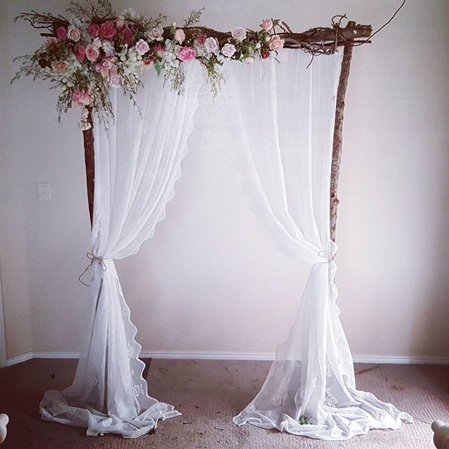 Beach Wedding Altar Decorations: Vintage Wedding Arbour. With Lace Curyains And Fresh
