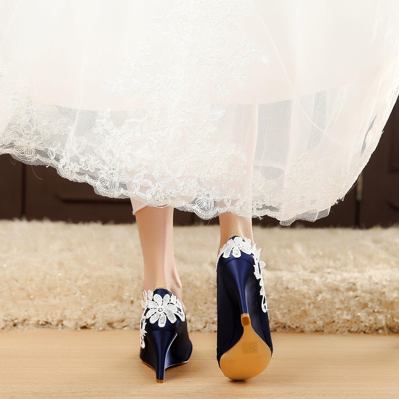 Satin Bridal Shoes Blue Wedding Wedge Comfortable Unique Design