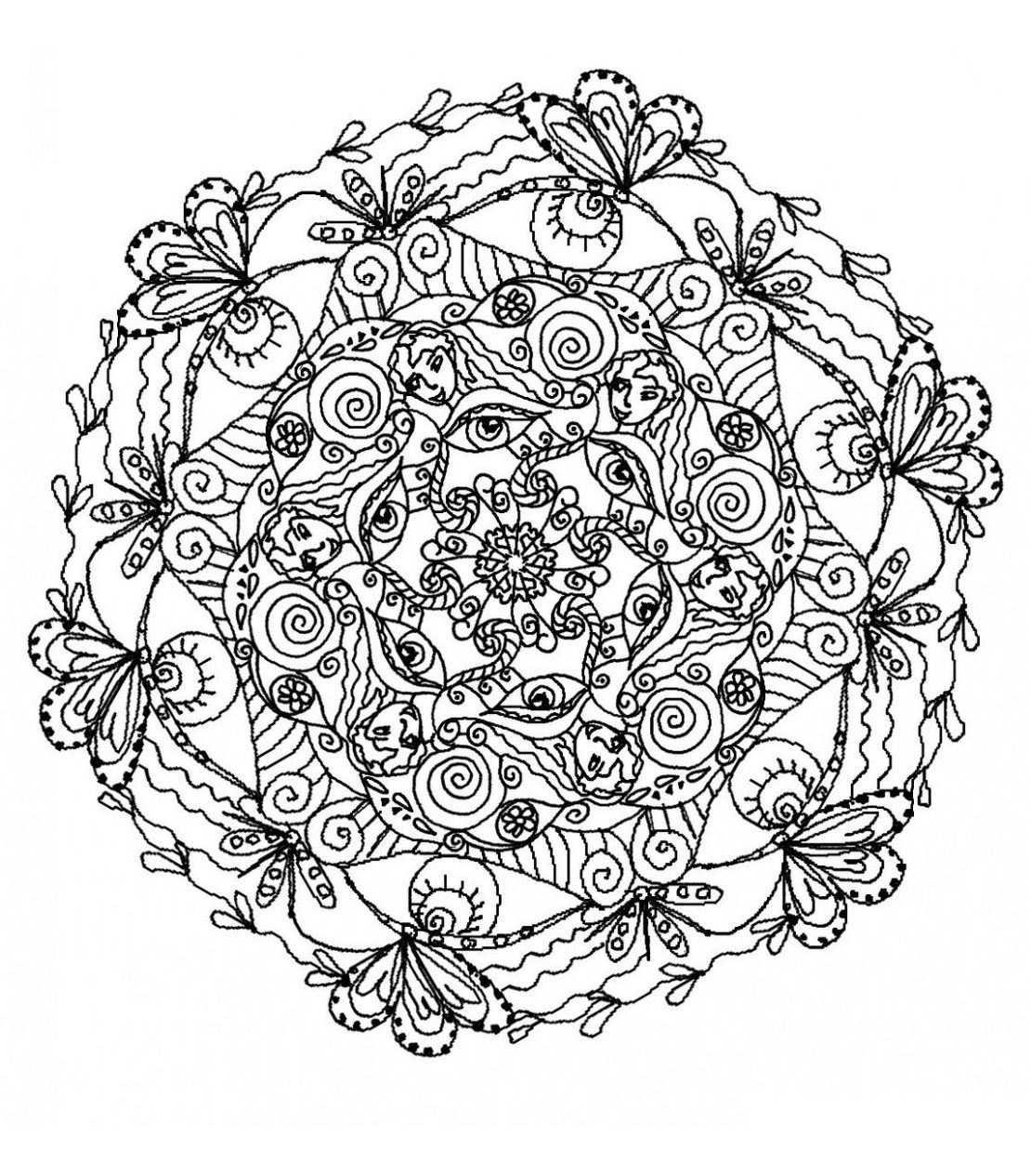 Mystical mandala coloring pages - Free Coloring Page Coloring Mandala Difficult 5 Plants And Natural
