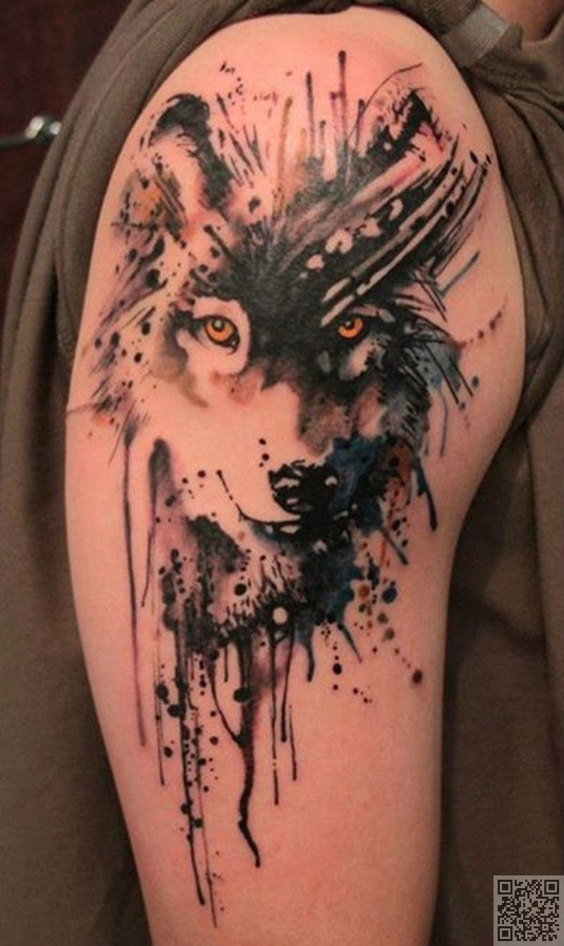 42 Wolf 45 Incredible Watercolor Tattoos Beauty