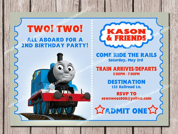 Thomas Friends Kids Birthday Invitation PRINTABLE By SewSweet - Birthday invitation card thomas and friends