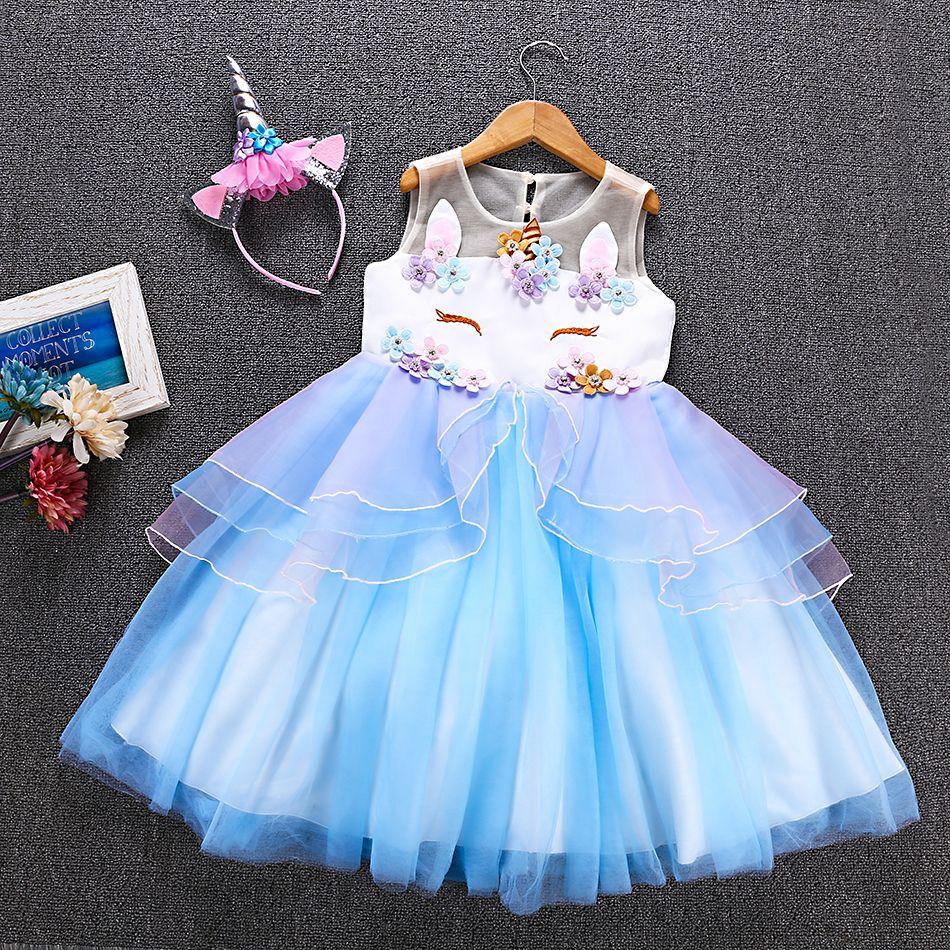 e8da7bdbef9a Girls Rainbow Unicorn Dress Tutu Princess Lace Dresses - Unilovers