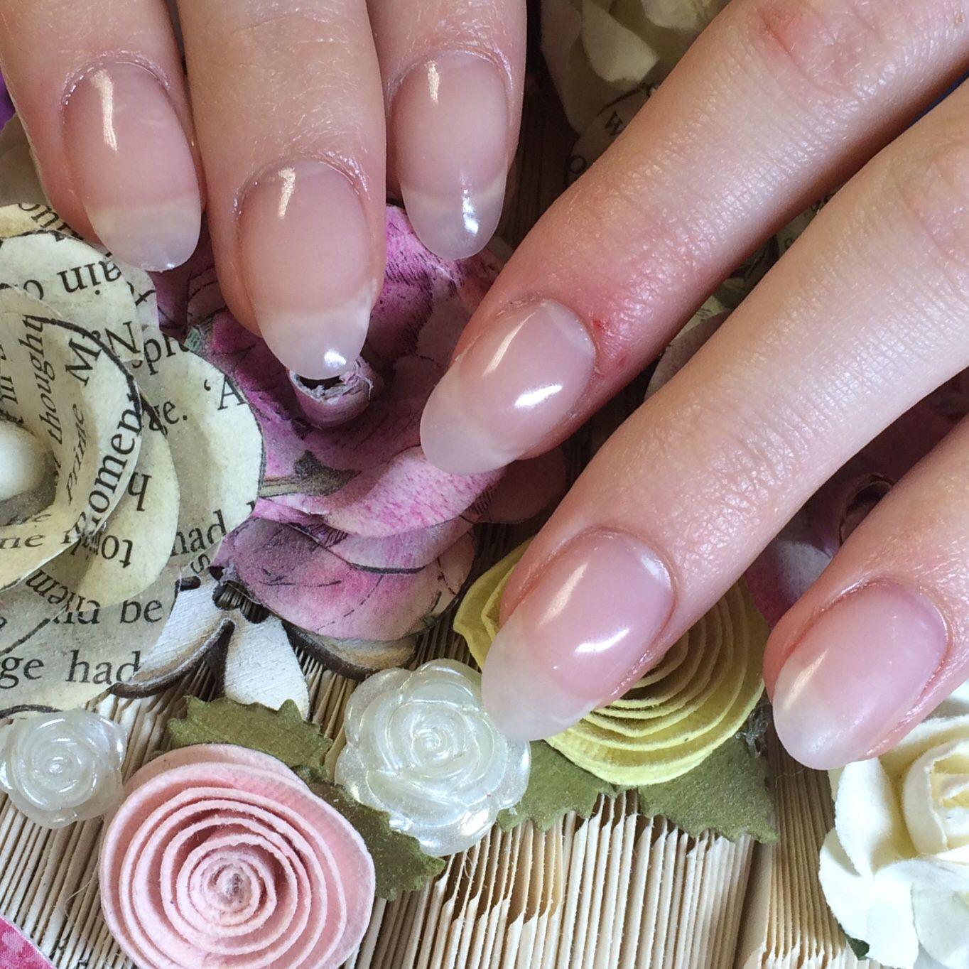Beautiful Natural Looking Nails Half Extensions And Half Real Using Hand Nail Harmony Polygel In Lightpink Wedding Nail Polish Nails Nail Polish Designs