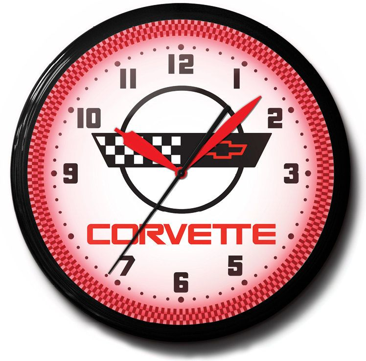 Corvette Flags C4 Chevrolet Gm 20 Neon Wall Clock Advertising Sign Vintage Style Hot Rod Garage Art Wall Clock Garage Art Clock