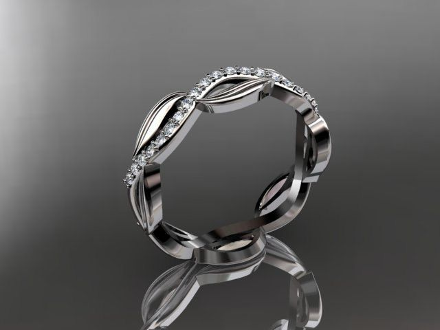 14k white gold diamond leaf and vine wedding ring,engagement ring,wedding band ADLR100B - TheWeddingMile.com